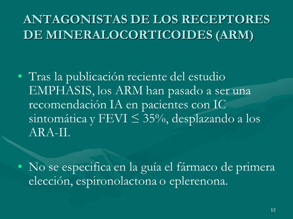 ANTAGONISTAS DE LOS RECEPTORES DE MINERALOCORTICOIDES (ARM) Tras la publicación reciente del estudio EMPHASIS, los ARM han pasado a ser una recomendac