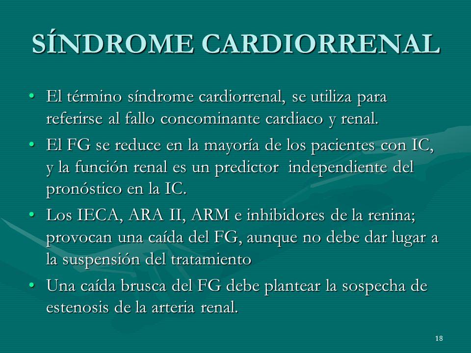 SÍNDROME CARDIORRENAL El término síndrome cardiorrenal, se utiliza para referirse al fallo concominante cardiaco y renal.El término síndrome cardiorre
