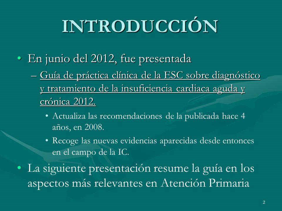 INTRODUCCIÓN En junio del 2012, fue presentadaEn junio del 2012, fue presentada –Guía de práctica clínica de la ESC sobre diagnóstico y tratamiento de