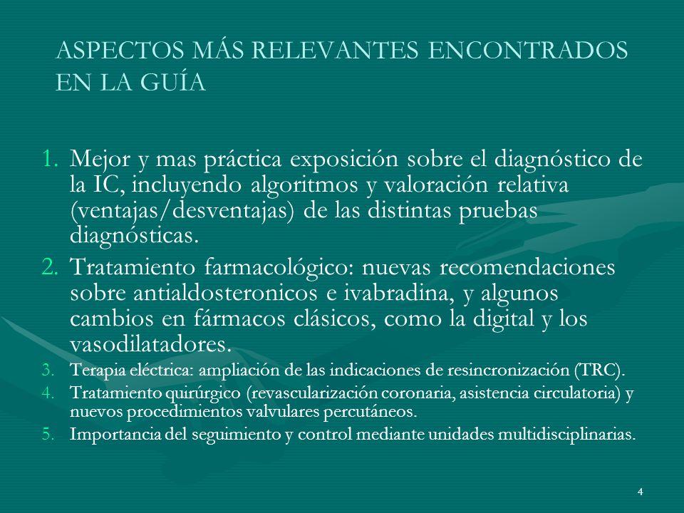 ASPECTOS MÁS RELEVANTES ENCONTRADOS EN LA GUÍA 1. 1.Mejor y mas práctica exposición sobre el diagnóstico de la IC, incluyendo algoritmos y valoración
