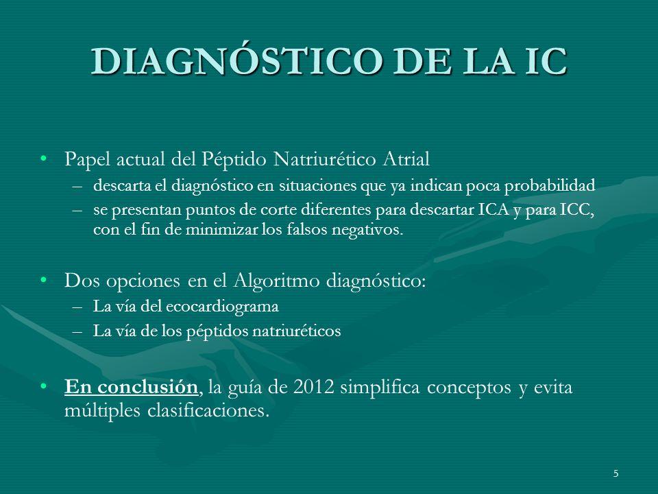DIAGNÓSTICO DE LA IC Papel actual del Péptido Natriurético Atrial – –descarta el diagnóstico en situaciones que ya indican poca probabilidad – –se pre