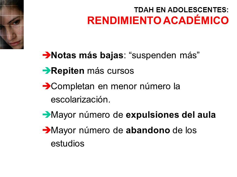 èNotas más bajas: suspenden más èRepiten más cursos èCompletan en menor número la escolarización. èMayor número de expulsiones del aula èMayor número