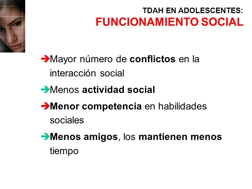èMayor número de conflictos en la interacción social èMenos actividad social èMenor competencia en habilidades sociales èMenos amigos, los mantienen m