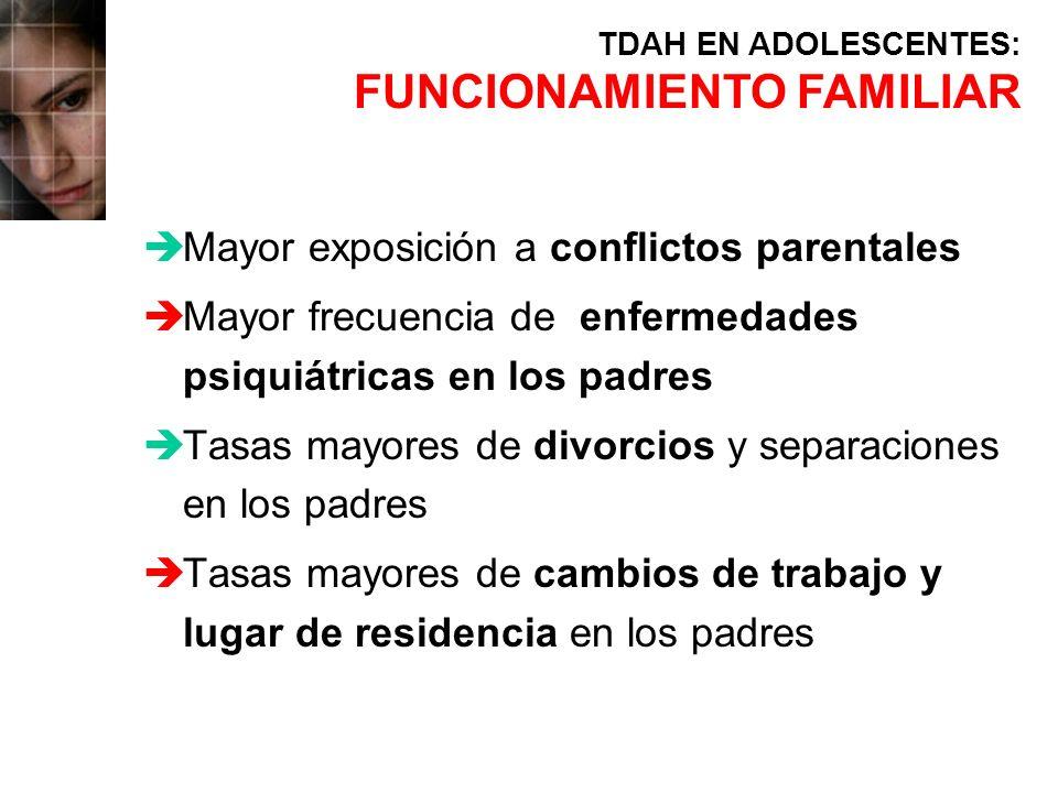 èMayor exposición a conflictos parentales èMayor frecuencia de enfermedades psiquiátricas en los padres èTasas mayores de divorcios y separaciones en