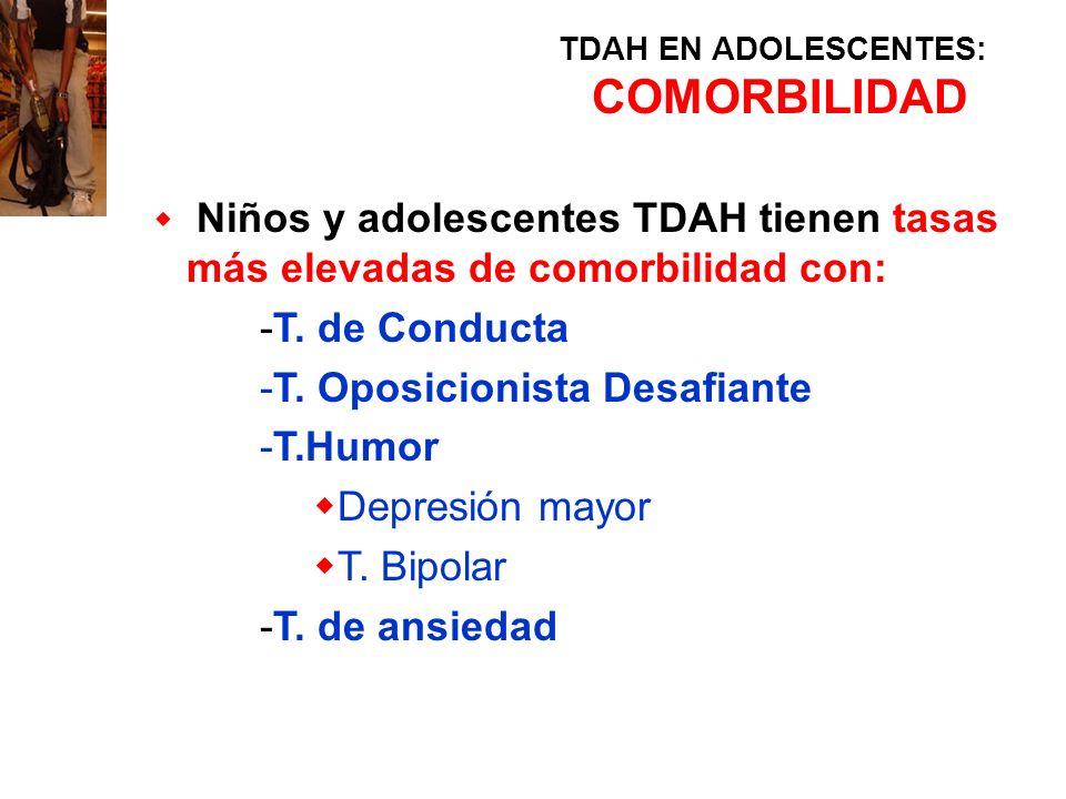 TDAH EN ADOLESCENTES: COMORBILIDAD Niños y adolescentes TDAH tienen tasas más elevadas de comorbilidad con: -T. de Conducta -T. Oposicionista Desafian