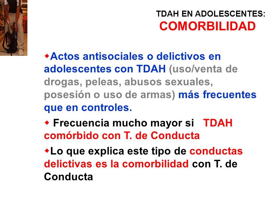 TDAH EN ADOLESCENTES: COMORBILIDAD Actos antisociales o delictivos en adolescentes con TDAH (uso/venta de drogas, peleas, abusos sexuales, posesión o