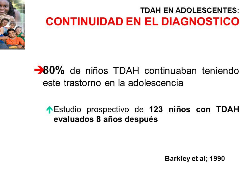 è80% de niños TDAH continuaban teniendo este trastorno en la adolescencia éEstudio prospectivo de 123 niños con TDAH evaluados 8 años después TDAH EN