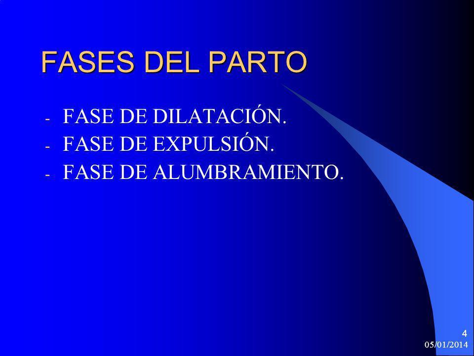 05/01/2014 5 FASE DE DILATACIÓN En esta fase se producen contracciones violentas para dilatar el cuello y favorecer la expulsión del feto.