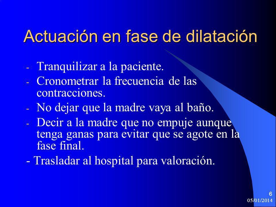 05/01/2014 7 FASE DE EXPULSIÓN Es la fase en la que el feto ya está en posición de salida(coronación) y en la que no se puede contener mas tiempo el parto.