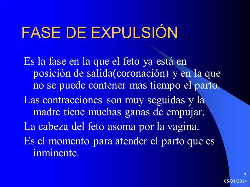 05/01/2014 8 Actuación en la fase de expulsión -Material a preparar: 1) Guantes 2) Sábanas (al menos tres).