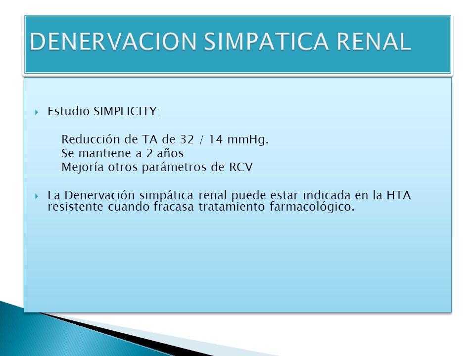 Estudio SIMPLICITY: Reducción de TA de 32 / 14 mmHg.
