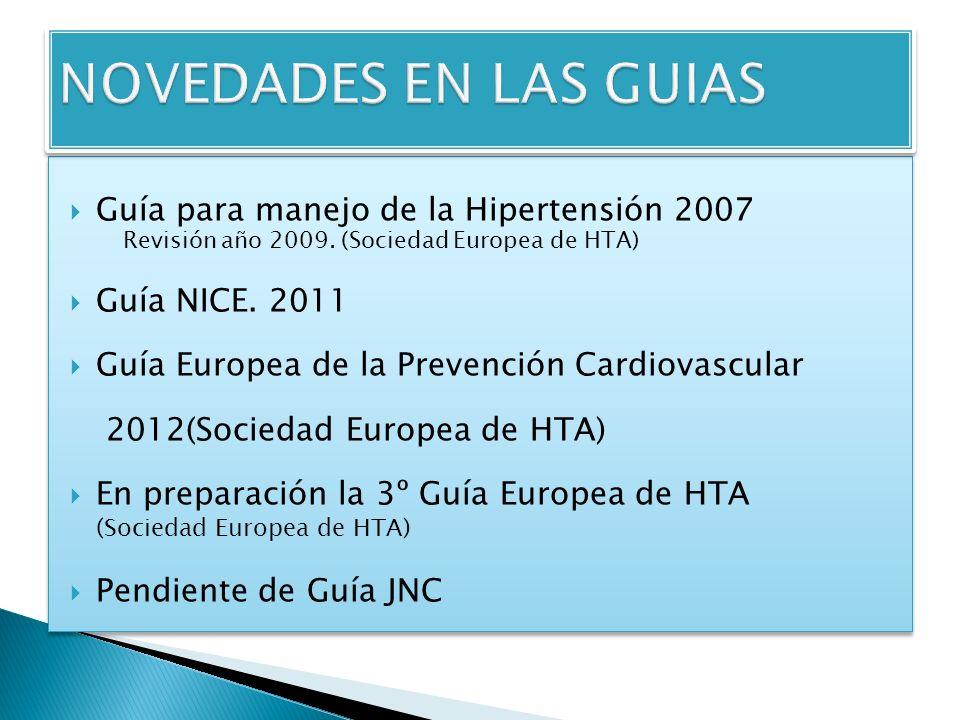 Guía para manejo de la Hipertensión 2007 Revisión año 2009.
