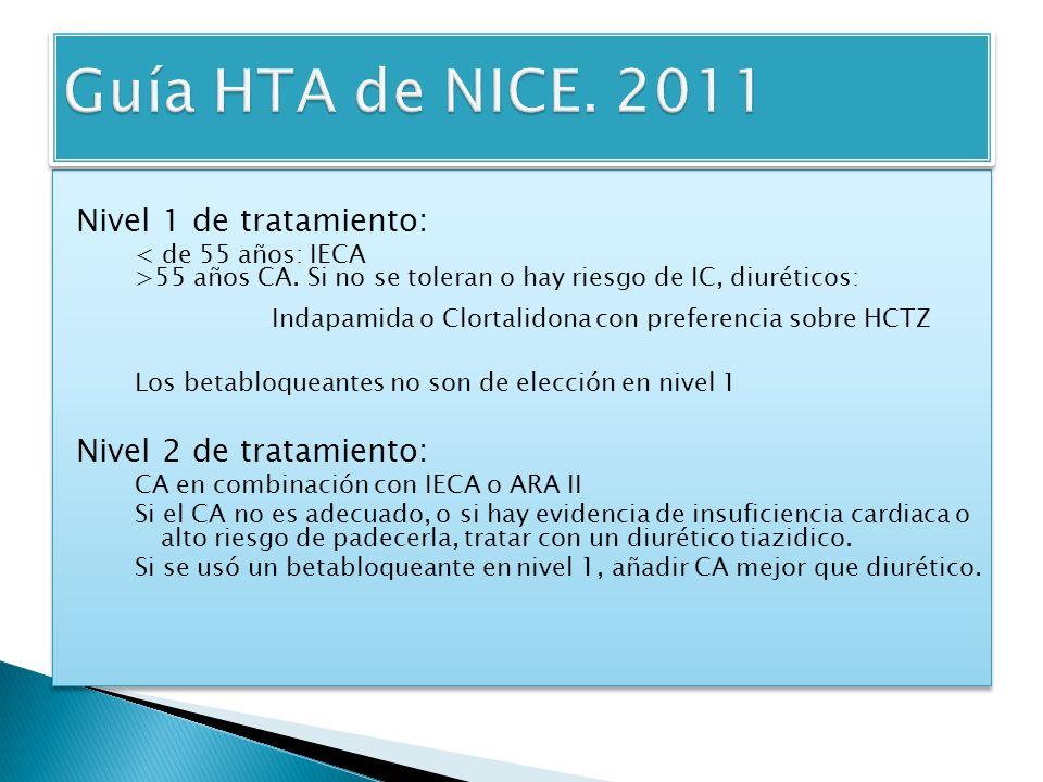 Nivel 1 de tratamiento: < de 55 años: IECA >55 años CA.