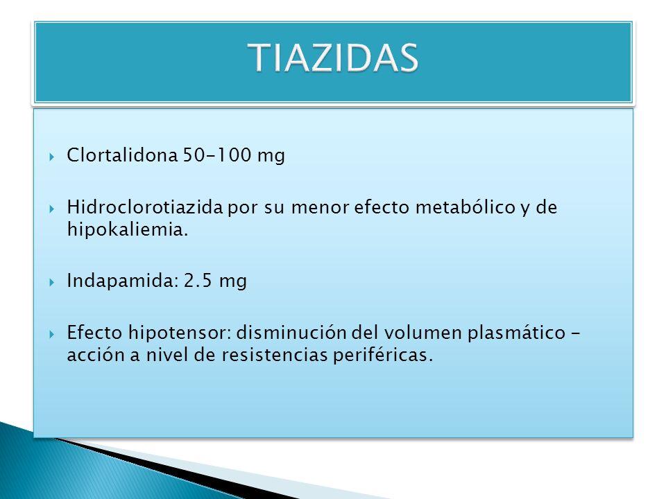 Clortalidona 50-100 mg Hidroclorotiazida por su menor efecto metabólico y de hipokaliemia.