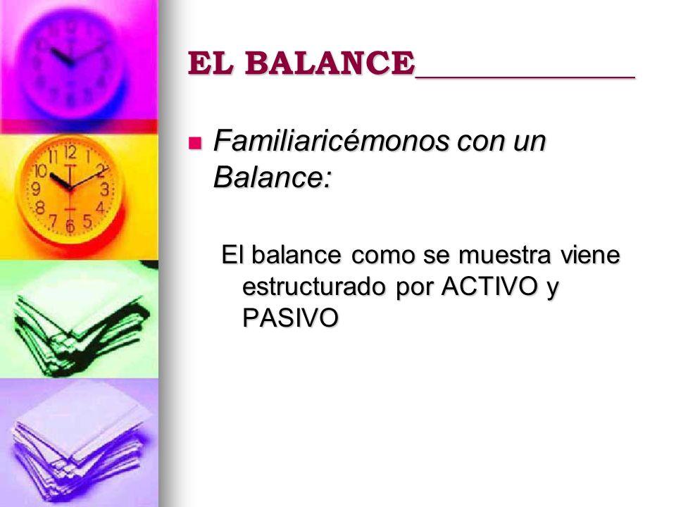 EL BALANCE_____________ Familiaricémonos con un Balance: Familiaricémonos con un Balance: El balance como se muestra viene estructurado por ACTIVO y P