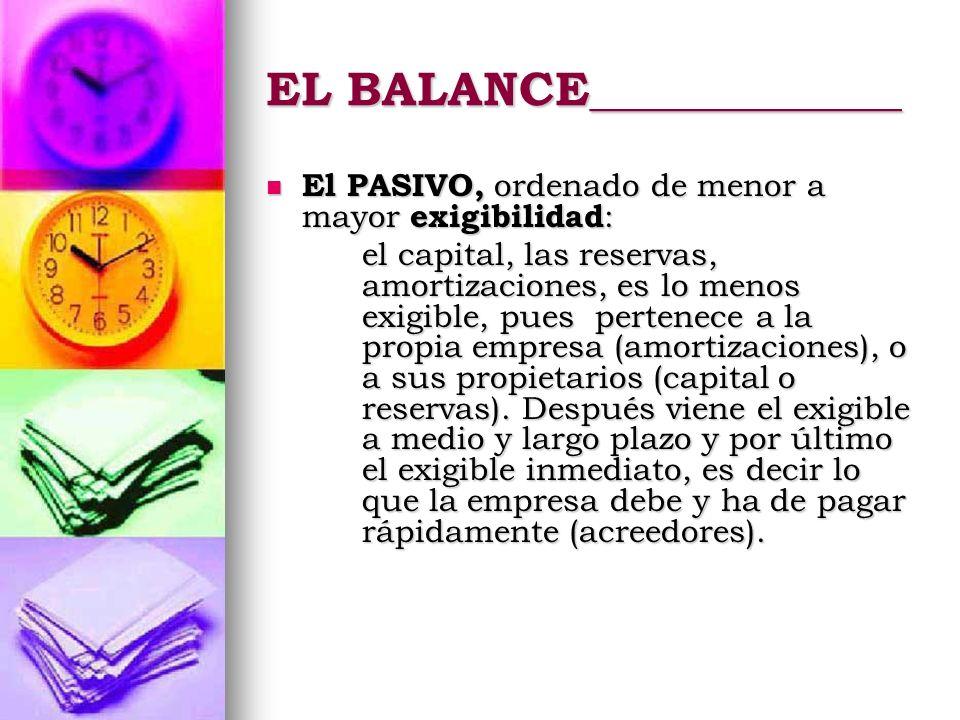 EL BALANCE_____________ El PASIVO, ordenado de menor a mayor exigibilidad : El PASIVO, ordenado de menor a mayor exigibilidad : el capital, las reserv