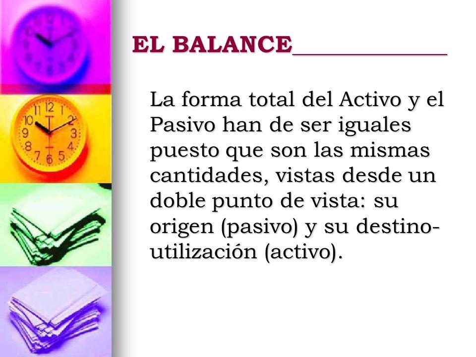 EL BALANCE_____________ La forma total del Activo y el Pasivo han de ser iguales puesto que son las mismas cantidades, vistas desde un doble punto de