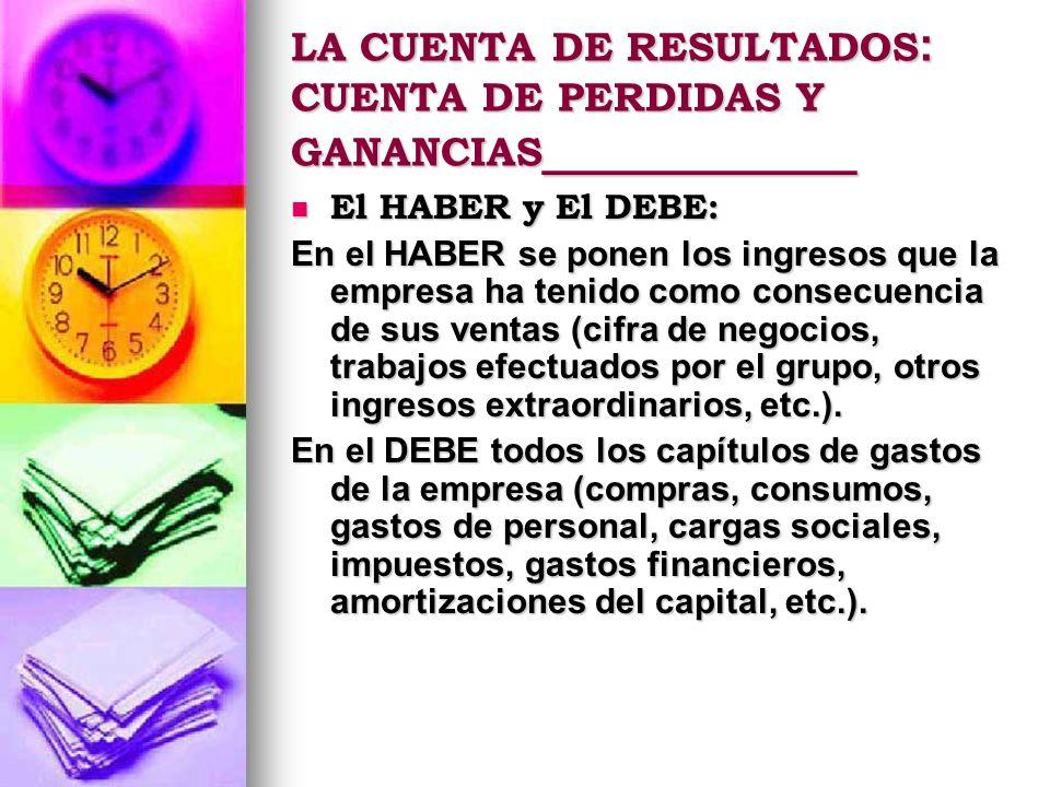 El HABER y El DEBE: El HABER y El DEBE: En el HABER se ponen los ingresos que la empresa ha tenido como consecuencia de sus ventas (cifra de negocios,
