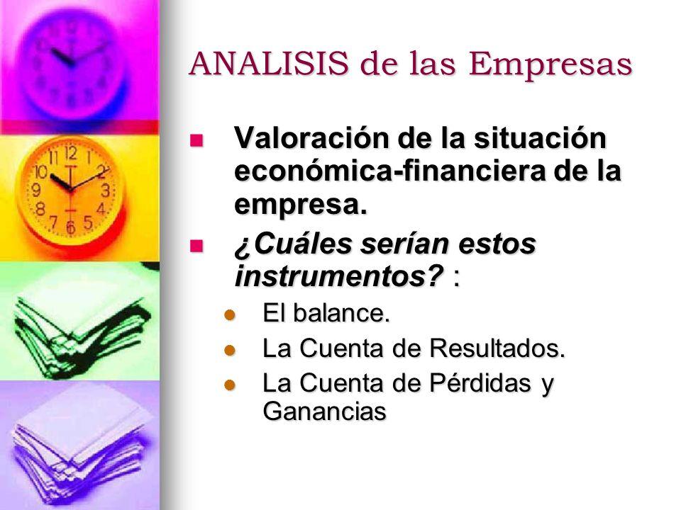 ANALISIS de las Empresas Valoración de la situación económica-financiera de la empresa. Valoración de la situación económica-financiera de la empresa.
