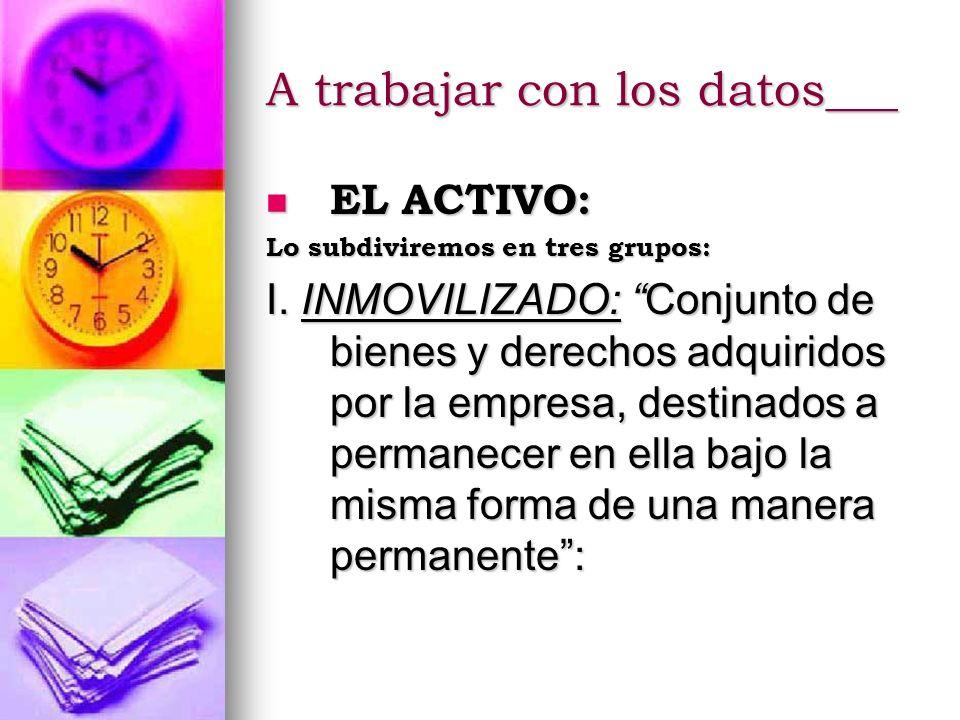 A trabajar con los datos___ EL ACTIVO: EL ACTIVO: Lo subdiviremos en tres grupos: I. INMOVILIZADO: Conjunto de bienes y derechos adquiridos por la emp