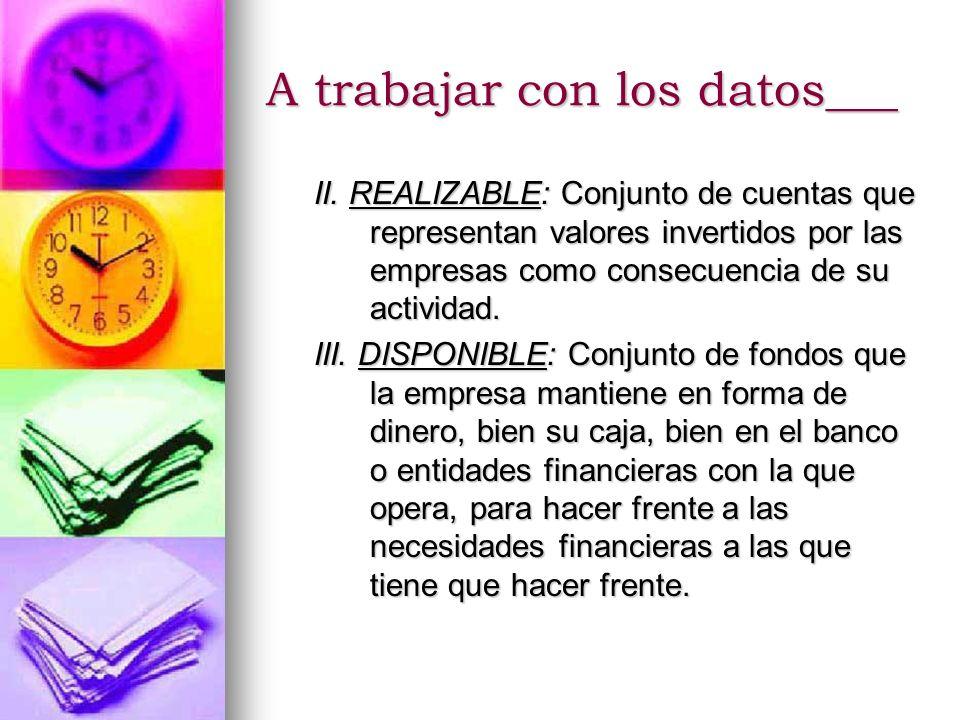 II. REALIZABLE: Conjunto de cuentas que representan valores invertidos por las empresas como consecuencia de su actividad. III. DISPONIBLE: Conjunto d
