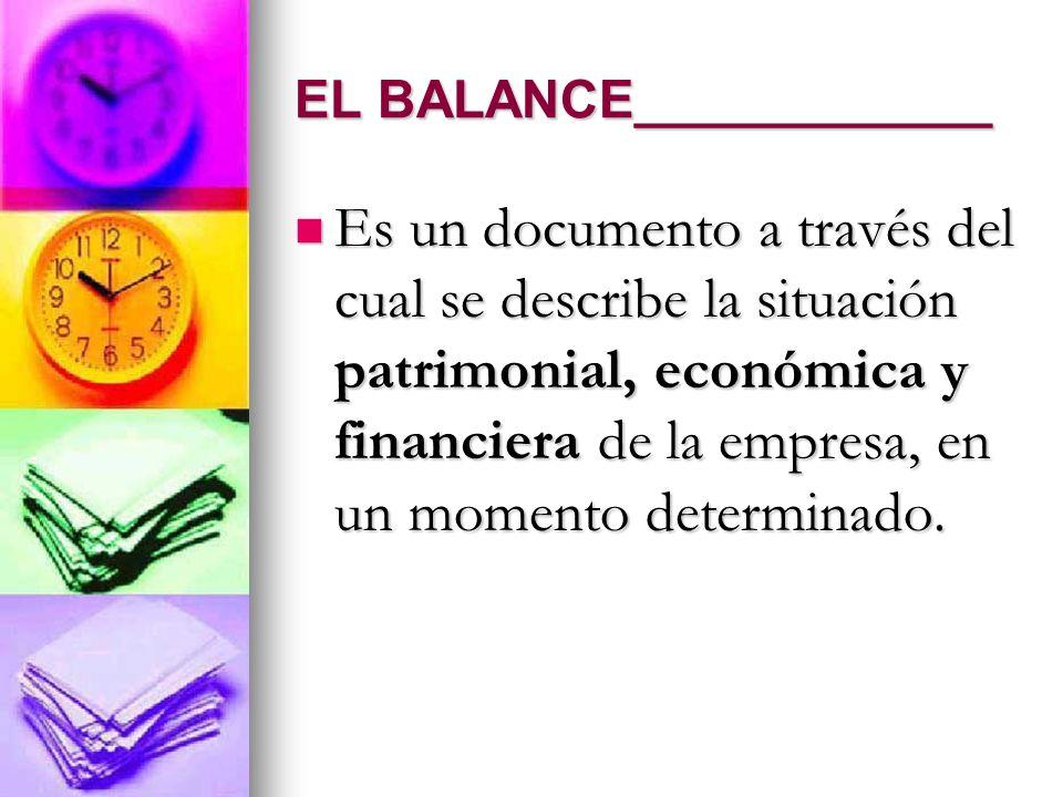 EL BALANCE____________ Es un documento a través del cual se describe la situación patrimonial, económica y financiera de la empresa, en un momento det