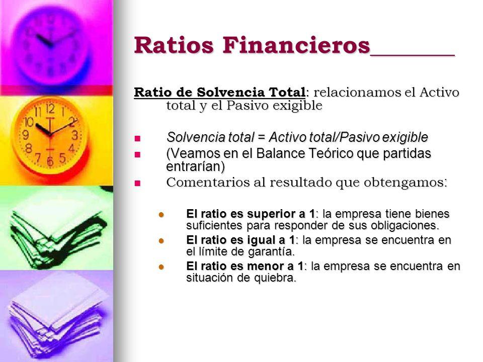 Ratios Financieros_______ Ratio de Solvencia Total : relacionamos el Activo total y el Pasivo exigible Solvencia total = Activo total/Pasivo exigible