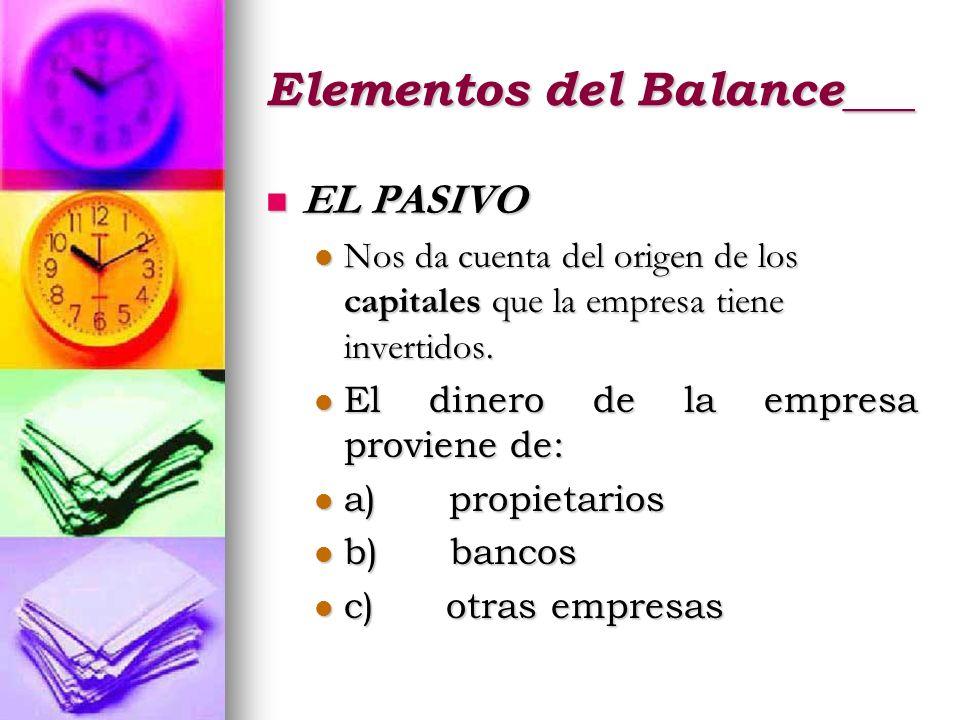 Elementos del Balance___ EL PASIVO EL PASIVO Nos da cuenta del origen de los capitales que la empresa tiene invertidos. Nos da cuenta del origen de lo
