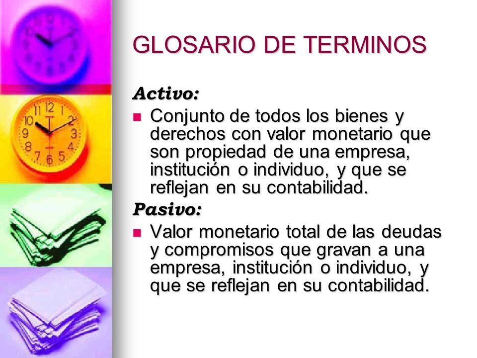 GLOSARIO DE TERMINOS Activo: Conjunto de todos los bienes y derechos con valor monetario que son propiedad de una empresa, institución o individuo, y