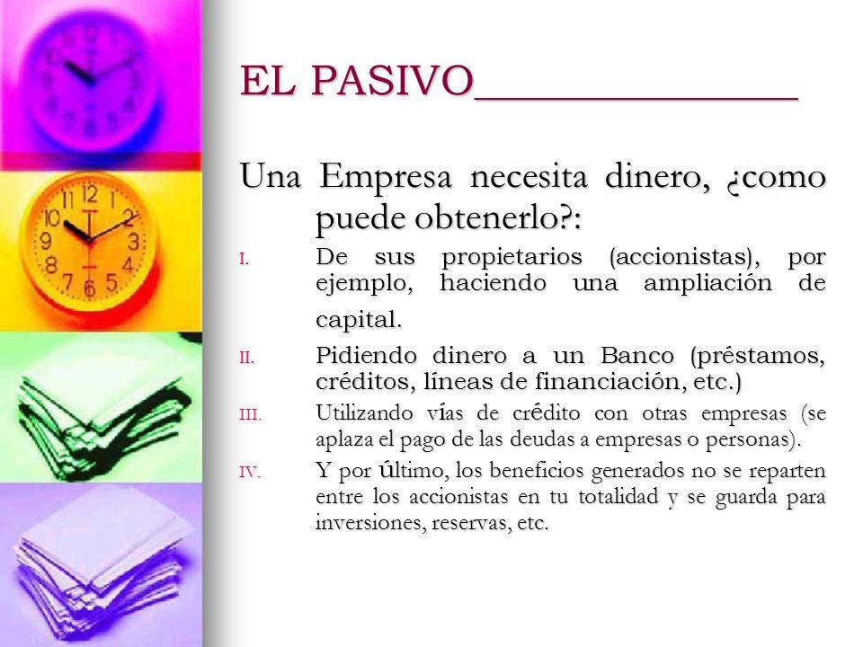 EL ACTIVO ______________ Representa la utilización de los recursos, de los capitales de la empresa.