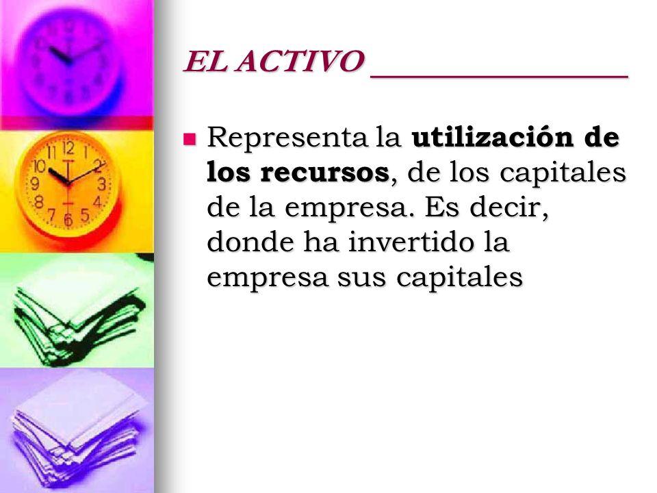 EL ACTIVO ______________ Representa la utilización de los recursos, de los capitales de la empresa. Es decir, donde ha invertido la empresa sus capita
