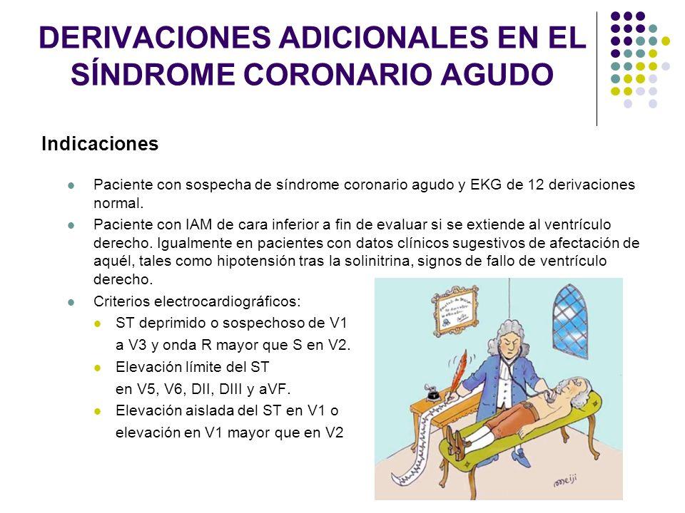 DERIVACIONES ADICIONALES EN EL SÍNDROME CORONARIO AGUDO Indicaciones Paciente con sospecha de síndrome coronario agudo y EKG de 12 derivaciones normal