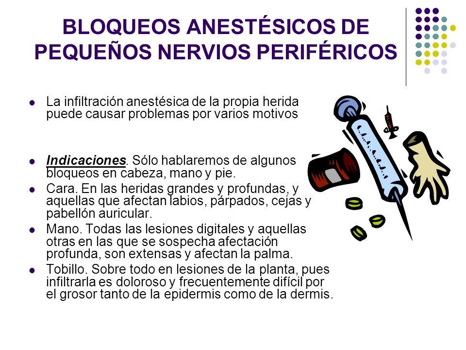 BLOQUEOS ANESTÉSICOS DE PEQUEÑOS NERVIOS PERIFÉRICOS La infiltración anestésica de la propia herida puede causar problemas por varios motivos Indicaci