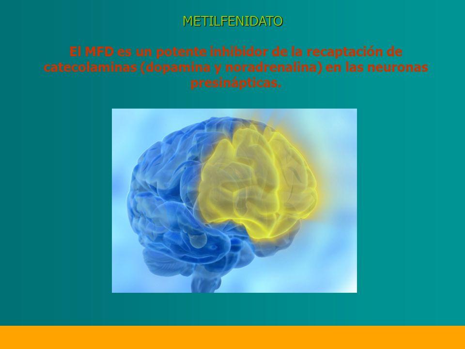 El MFD es un potente inhibidor de la recaptación de catecolaminas (dopamina y noradrenalina) en las neuronas presinápticas.