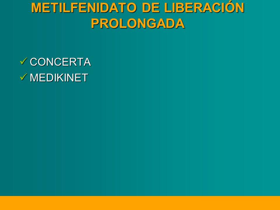 METILFENIDATO DE LIBERACIÓN PROLONGADA CONCERTA CONCERTA MEDIKINET MEDIKINET