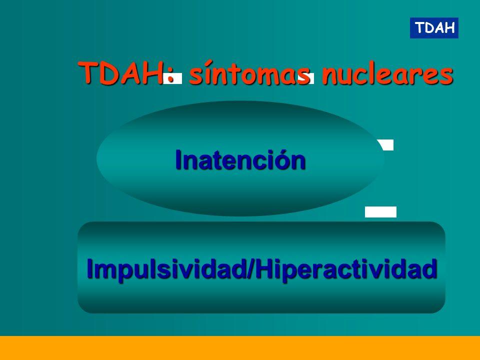TDAH Inatención TDAH: síntomas nucleares Impulsividad/Hiperactividad