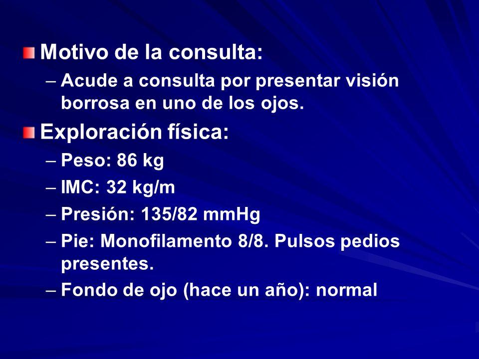 Motivo de la consulta: – –Acude a consulta por presentar visión borrosa en uno de los ojos. Exploración física: – –Peso: 86 kg – –IMC: 32 kg/m – –Pres