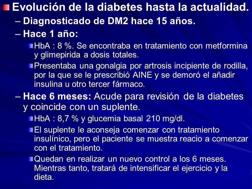 Evolución de la diabetes hasta la actualidad. – –Diagnosticado de DM2 hace 15 años. – –Hace 1 año: HbA : 8 %. Se encontraba en tratamiento con metform