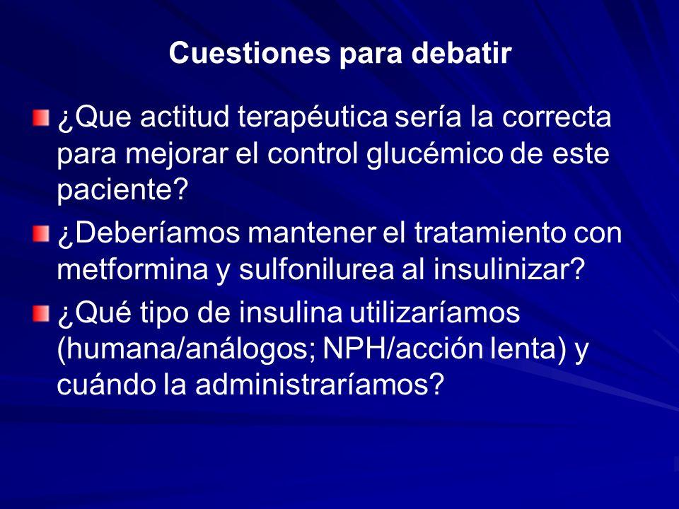 Cuestiones para debatir ¿Que actitud terapéutica sería la correcta para mejorar el control glucémico de este paciente? ¿Deberíamos mantener el tratami