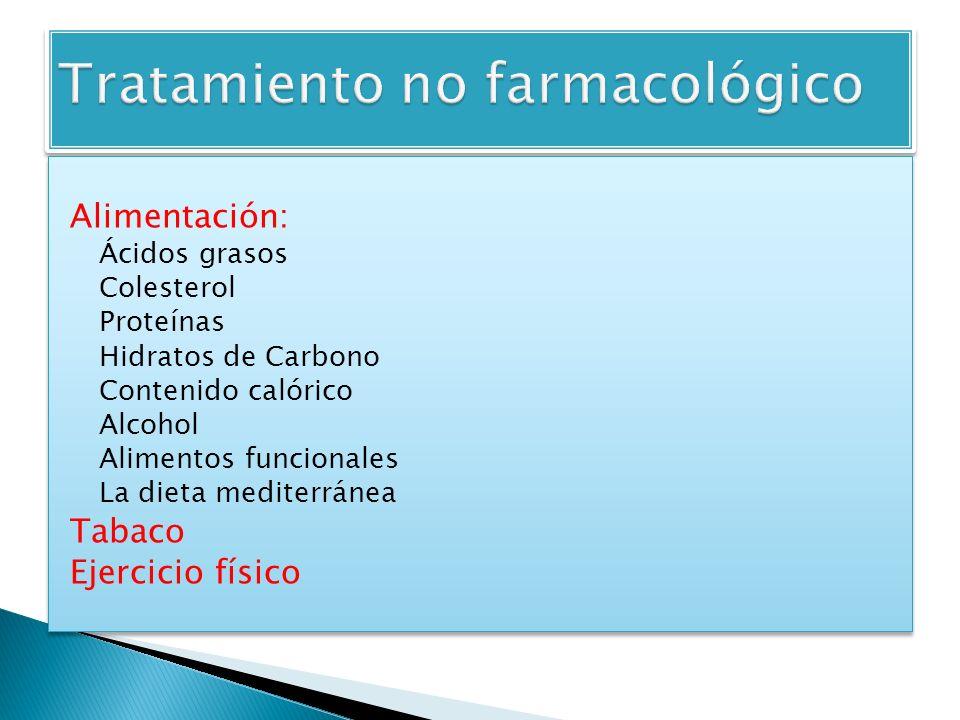 Alimentación: Ácidos grasos Colesterol Proteínas Hidratos de Carbono Contenido calórico Alcohol Alimentos funcionales La dieta mediterránea Tabaco Eje