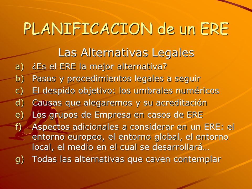 PLANIFICACION de un ERE Las Alternativas Legales a)¿Es el ERE la mejor alternativa? b)Pasos y procedimientos legales a seguir c)El despido objetivo: l