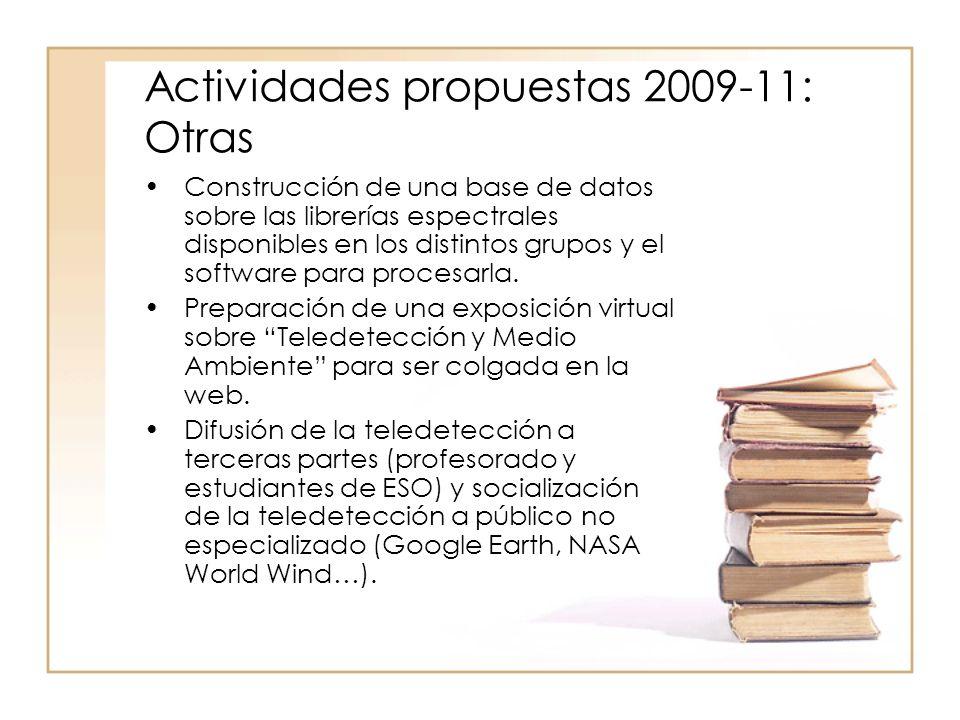 Actividades propuestas 2009-11: Otras Construcción de una base de datos sobre las librerías espectrales disponibles en los distintos grupos y el software para procesarla.
