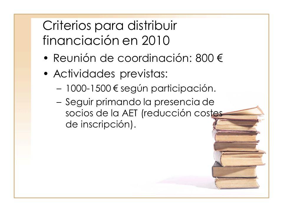 Criterios para distribuir financiación en 2010 Reunión de coordinación: 800 Actividades previstas: –1000-1500 según participación.