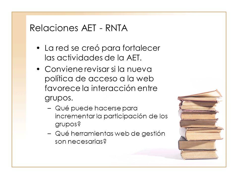 Relaciones AET - RNTA La red se creó para fortalecer las actividades de la AET.
