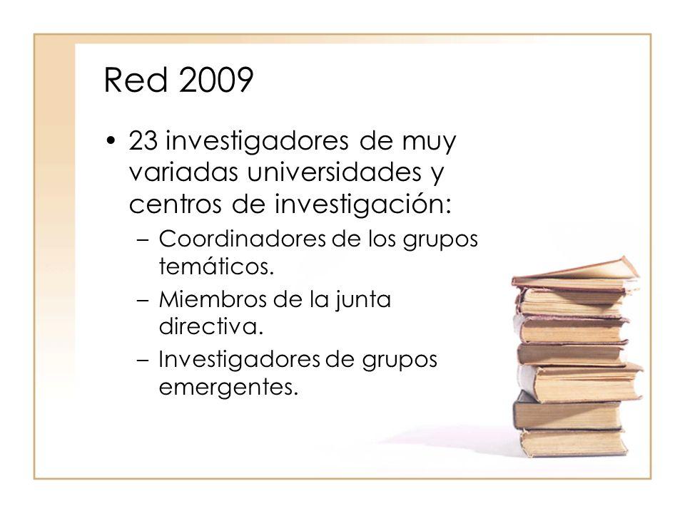 Red 2009 23 investigadores de muy variadas universidades y centros de investigación: –Coordinadores de los grupos temáticos.