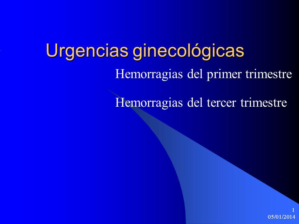 05/01/2014 1 Urgencias ginecológicas Hemorragias del primer trimestre Hemorragias del tercer trimestre