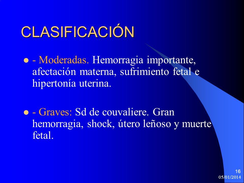 CLASIFICACIÓN - Moderadas. Hemorragia importante, afectación materna, sufrimiento fetal e hipertonía uterina. - Graves: Sd de couvaliere. Gran hemorra