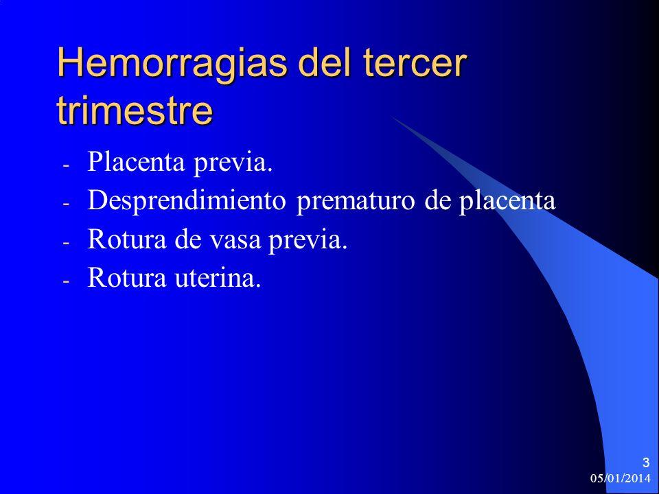 05/01/2014 3 Hemorragias del tercer trimestre - Placenta previa. - Desprendimiento prematuro de placenta - Rotura de vasa previa. - Rotura uterina.