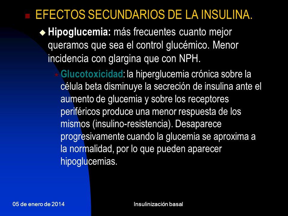 05 de enero de 2014Insulinización basal EFECTOS SECUNDARIOS DE LA INSULINA 2.