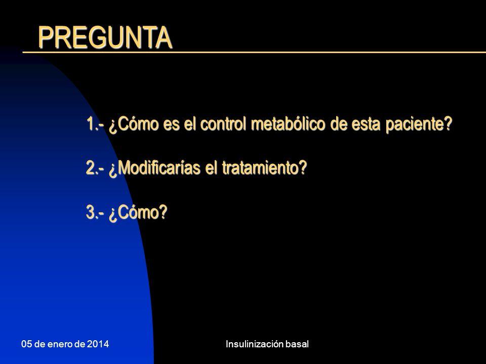 05 de enero de 2014Insulinización basal 1.- ¿Cómo es el control metabólico de esta paciente.